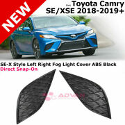 For 18-19+ Toyota Camry | Se-x Style Left Right Fog Light Cover Abs Black