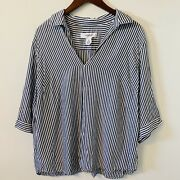 Workshop Republic Clothing Striped Popover Shirt Plus Size 1x Black And White