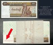 Full Bundle And039exand039 Replacement Burma 50 Kyat P-73 All 100 Banknote Myanmar Unc