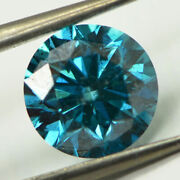 Loose Round Cut Diamond Fancy Blue Color Polished 1.75 Ct Si1 Natural Enhanced