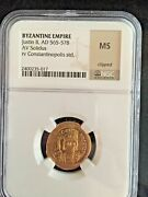 Justin Ii Authentic Ancient Byzantine 565ad Genuine Gold Coin Ngc Ms