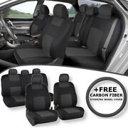 Double Stitched Front Rear Charcoal Seat And Carbon Fiber Steering Wheel Cover