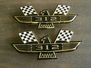 Ford 312 Crossed Flag Fender Emblems Gold Mustang Fairlane Galaxie Falcon 1965 +