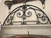 Vintage Black Hand Forged Wrought Iron Banded Door Pediment Hand Hewn Blacksmith