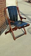 Don Shoemaker Mid Century Modern Folding Leather Arm Chair Museum Quality