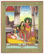 Handmade Sikhism Miniature Art Painting Princess Seated On Bed With His Kids