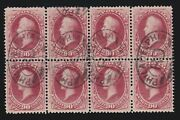 Us 191 90c Perry Banknote Used Block Of 8 W/ Pse Cert Vf Scv 4000