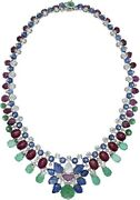 Tutti Frutti Carved Necklace 925 Sterling Silver Flower Style Handmade Highend
