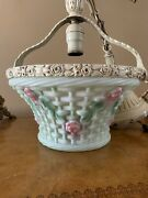 Antique Consolidated Glass Basket Hall Pantry Roses Ceiling Fixture Chandelier