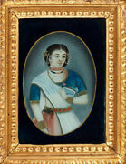 19th C. Antique Royal Mughal Empire India Islamic Miniature Painting On Glass