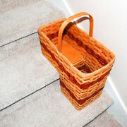 Amish Basket Fixed Handle Handmade For Stair Steps Golden Oak Red Be Organized