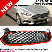 For 13-16 Ford Fusion Honeycomb | Red Hexagon Mustang Style Front Grille