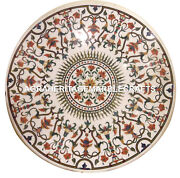 Marble Round Dining Top Table Hakik Marquetry Inlay Gems Pietradura Decor H3045