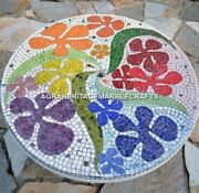 Marble White Round Dining Room Table Multi Mosaic Floral Arts Garden Decor H3991