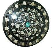 Marble Coffee Dining Table Top Inlay Abalone Stone Floral Marquetry Decor H926