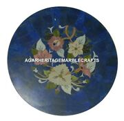 Marble Center Coffee Mosaic Table Top Lapis Lazuli Inlay Home Decorate Art H2039