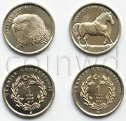 Turkey 2 Animals Coins Set 2014 Eagle And Horse Unc 578