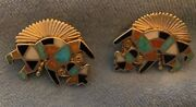 Zuni Best Early Museum Quality Alonzo Hustito Rainbow Man Earrings Channel Inlay