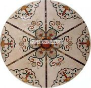 White Marble Round Center Table Top Mosaic Unique Inlay Furniture Decor H3999