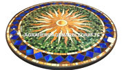 Black Round Marble Coffee Table Top Marquetry Inlay Precious Home Decor H2457