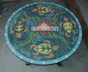 Marble Round Dining Top Table Mosaic Handmade Multi Inlaid Garden Decor H3925