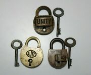3 Pieces Old Or Antique Brass Small Sized Locks Padlocks With Keys Round Shapes