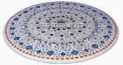 White Marble Top Coffee Table Malachite Marquetry Inlay Occasionally Decor H3179