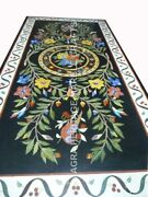 5and039x3and039 Black Marble Living Center Hallway Table Top Marquetry Floral Inlaid E766