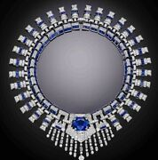 Necklace Art Deco Style Solid 925 Sterling Silver Blue Cushion Highend Handmade