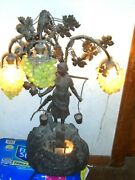 Antique Lite Pondan Grapes With A Water Maiden An Pond.1920and039sall Metal