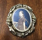 Lovely Victorian Double Portrait Photographs Daughter/father Swivel Broach
