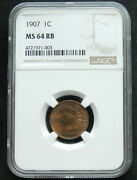 1907 1c Ms 64 Rb Ngc. Indian Head Cent