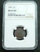 1907 1c Ms 64 Bn Ngc. Indian Head Cent