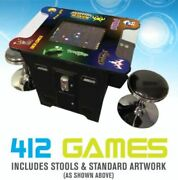 Retro Video Classic Cocktail Arcade Game Table 412 With Free Stools