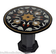 23 Black Round Marble Coffee Table Top Handmade Marquetry Home Decor With Stand
