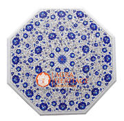 31 Marble Coffee Center Table Top Lapis Lazuli Inlay Floral Kitchen Decor H029