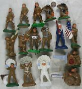 """Lot Of 1930's Composition 3 1/2"""" Wwii Army Soldier Barclay Type"""