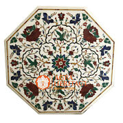 38 White Marble Octagon Dining Table Top Marquetry Bird Floral Inlay Decor E532