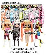 4 Omg Fashion Dolls Lol Surprise Lights Speedster Dazzle Groovy Babe Angles New