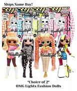 Pick 2 Lol Surprise Omg Lights Fashion Dolls Speedster Dazzle Groovy Babe Angles
