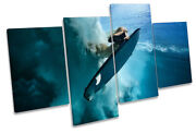 Surfer Surf Board Wave Picture Multi Canvas Wall Art Print