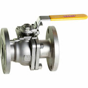 New 4 In. Ss Flanged Full Port Ball Valve-direct Mount-300 Psi-2 Piece