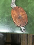 Antique 19th Century Dual Block And Tackle With Steel Sheave Pulley And Iron Hook