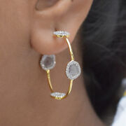 Slice Diamond Pave Solid 18k Yellow Gold Hoop Earrings Wedding Handmade Jewelry