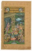 Mughal Miniature Painting Emperor Enjoying Romance With His Mistress On Paper