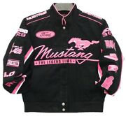 Mustang Racing Jacket Collage Women Black Pink Twill Cotton Jacket By Jh Design