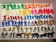 Lot Of 90 Plastic Toys - Colored Vintage - Imperial Marx Firemen Indians Cowboys