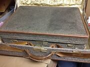 Vintage Hartmann Luggage Brown Tweed And Leather Trim Match Suitcase Set 30 And 24