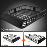 64 Extendable Roof Rack Black Steel Luggage Cargo Carrier Top Basket Suv Truck