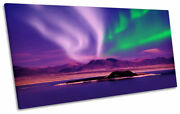 Space Northern Lights Night Purple Print Panoramic Canvas Wall Art Picture